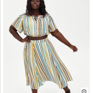 NWT Torrid Multi Stripe Gauze Skirt/Crop Top, 2X